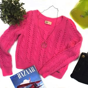 Hollister Sweater Bright Pink Cropped Size Large